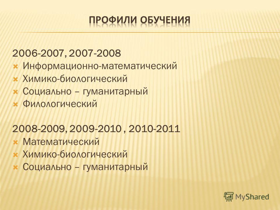 2006-2007, 2007-2008 Информационно-математический Химико-биологический Социально – гуманитарный Филологический 2008-2009, 2009-2010, 2010-2011 Математический Химико-биологический Социально – гуманитарный