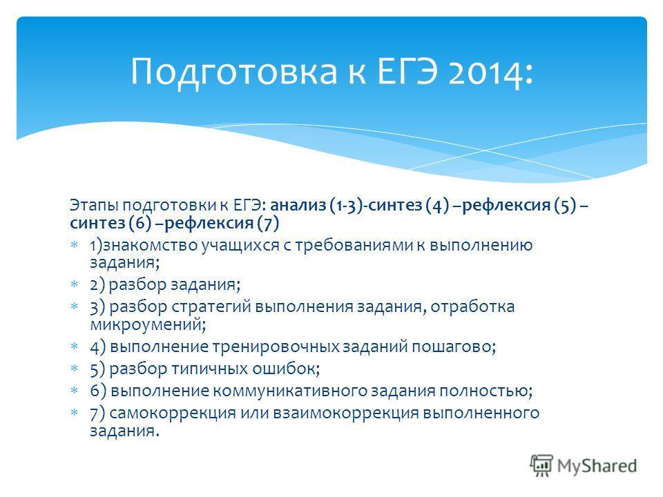 Этапы подготовки к ЕГЭ: анализ (1-3)-синтез (4) –рефлексия (5) – синтез (6) –рефлексия (7) 1)знакомство учащихся с требованиями к выполнению задания; 2) разбор задания; 3) разбор стратегий выполнения задания, отработка микроумений; 4) выполнение трен