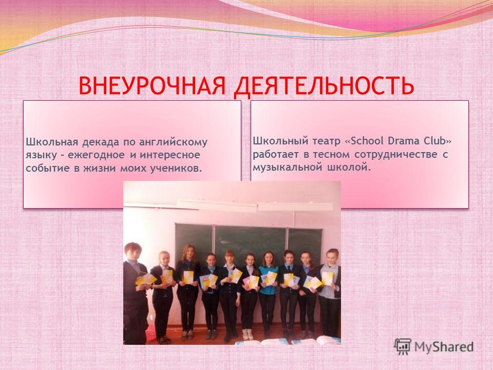 ВНЕУРОЧНАЯ ДЕЯТЕЛЬНОСТЬ Школьная декада по английскому языку – ежегодное и интересное событие в жизни моих учеников. Школьный театр «School Drama Club» работает в тесном сотрудничестве с музыкальной школой.