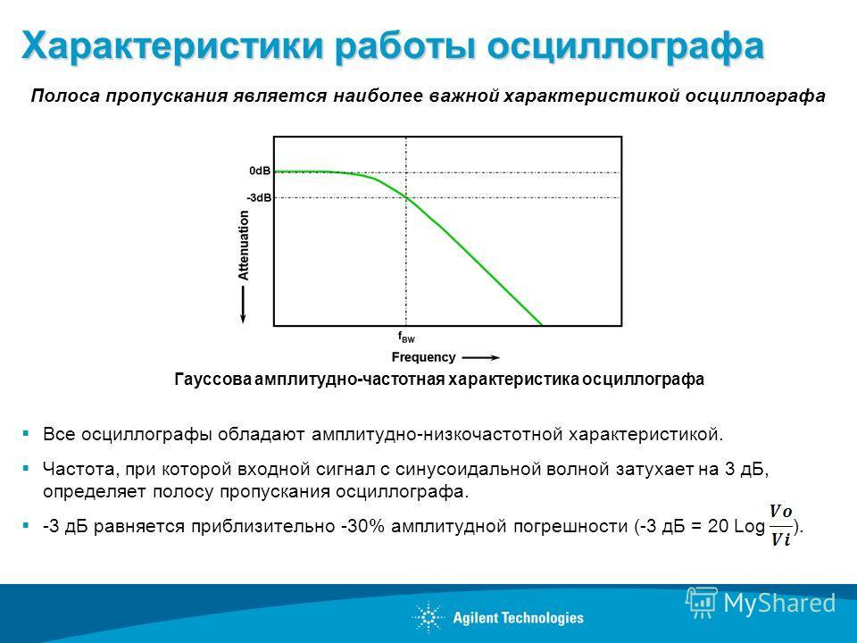 Характеристики работы осциллографа Все осциллографы обладают амплитудно-низкочастотной характеристикой. Частота, при которой входной сигнал с синусоидальной волной затухает на 3 дБ, определяет полосу пропускания осциллографа. -3 дБ равняется приблизи