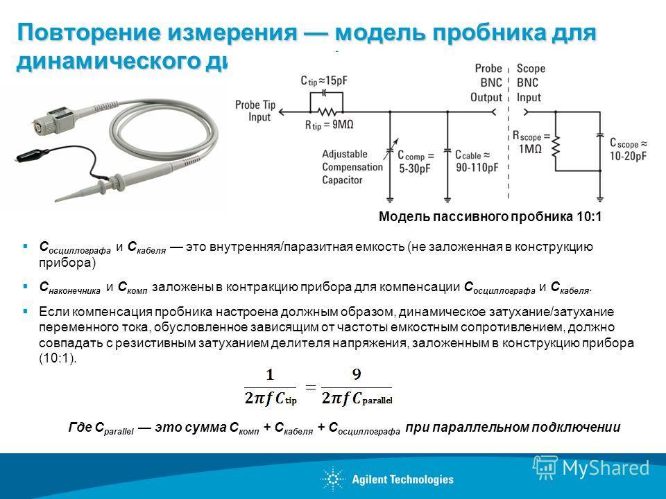 Повторение измерения модель пробника для динамического диапазона/переменного тока C осциллографа и C кабеля это внутренняя/паразитная емкость (не заложенная в конструкцию прибора) C наконечника и C комп заложены в контракцию прибора для компенсации C