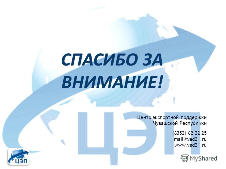 Центр экспортной поддержки Чувашской Республики (8352) 62 22 25 mail@ved21.ru www.ved21.ru