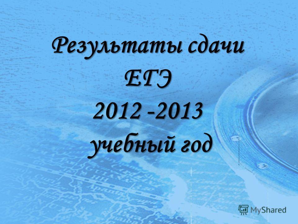 Результаты сдачи ЕГЭ 2012 -2013 учебный год