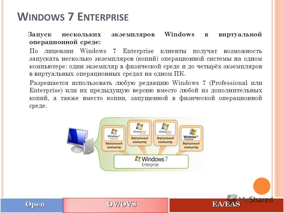 W INDOWS 7 E NTERPRISE Запуск нескольких экземпляров Windows в виртуальной операционной среде: По лицензии Windows 7 Enterprise клиенты получат возможность запускать несколько экземпляров (копий) операционной системы на одном компьютере: один экземпл