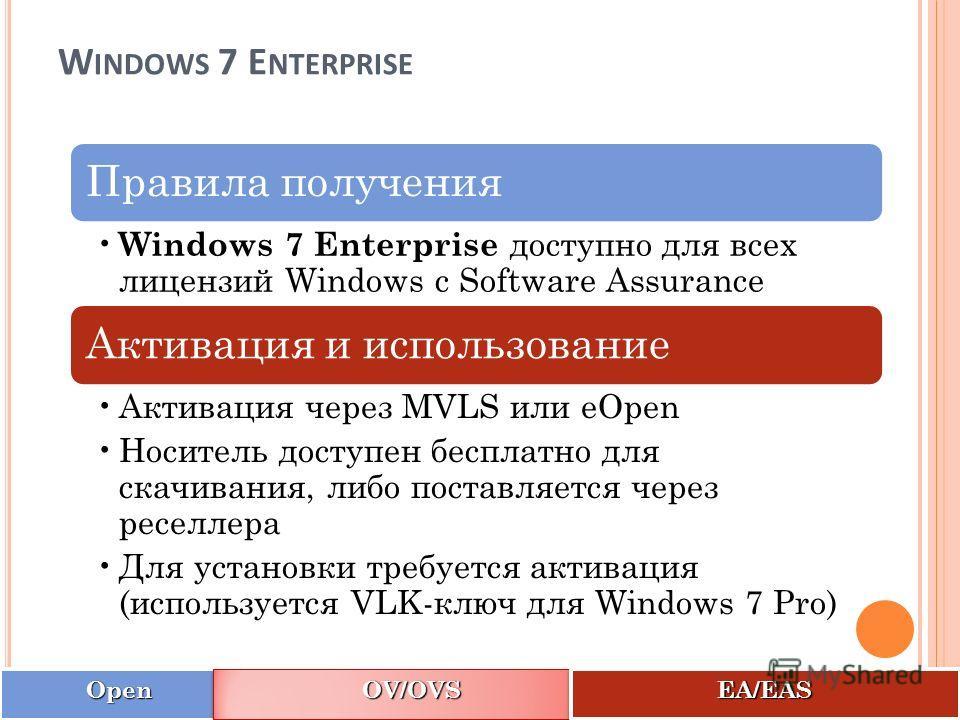 OpenOpen OV/OVSOV/OVS EA/EASEA/EAS W INDOWS 7 E NTERPRISE 17 Правила получения Windows 7 Enterprise доступно для всех лицензий Windows с Software Assurance Активация и использование Активация через MVLS или eOpen Носитель доступен бесплатно для скачи