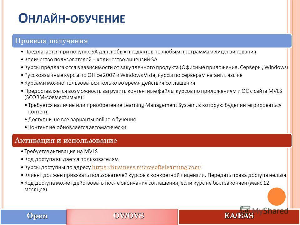 OpenOpen OV/OVSOV/OVS EA/EASEA/EAS О НЛАЙН - ОБУЧЕНИЕ Правила получения Предлагается при покупке SA для любых продуктов по любым программам лицензирования Количество пользователей = количество лицензий SA Курсы предлагаются в зависимости от закупленн