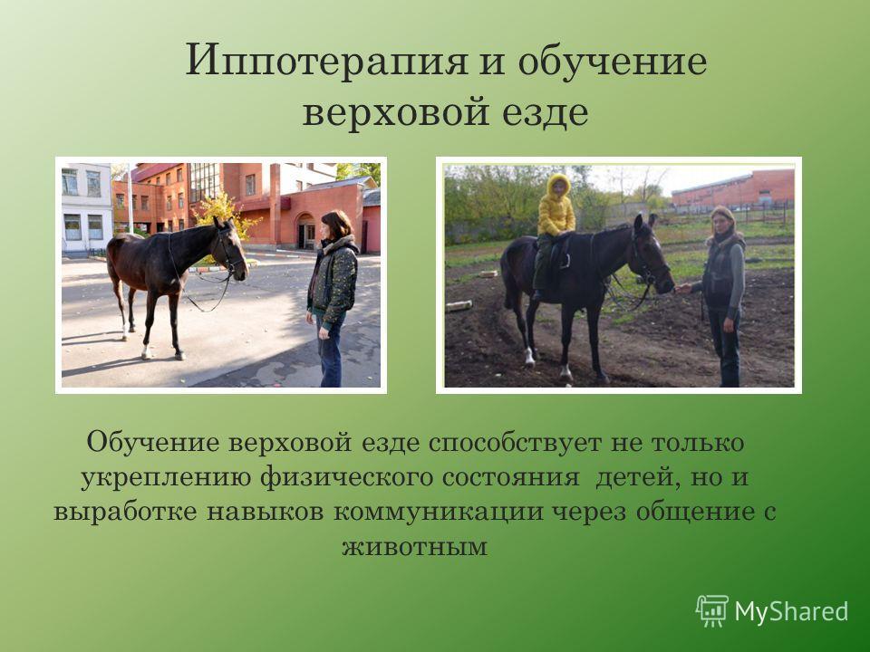 Обучение верховой езде способствует не только укреплению физического состояния детей, но и выработке навыков коммуникации через общение с животным Иппотерапия и обучение верховой езде