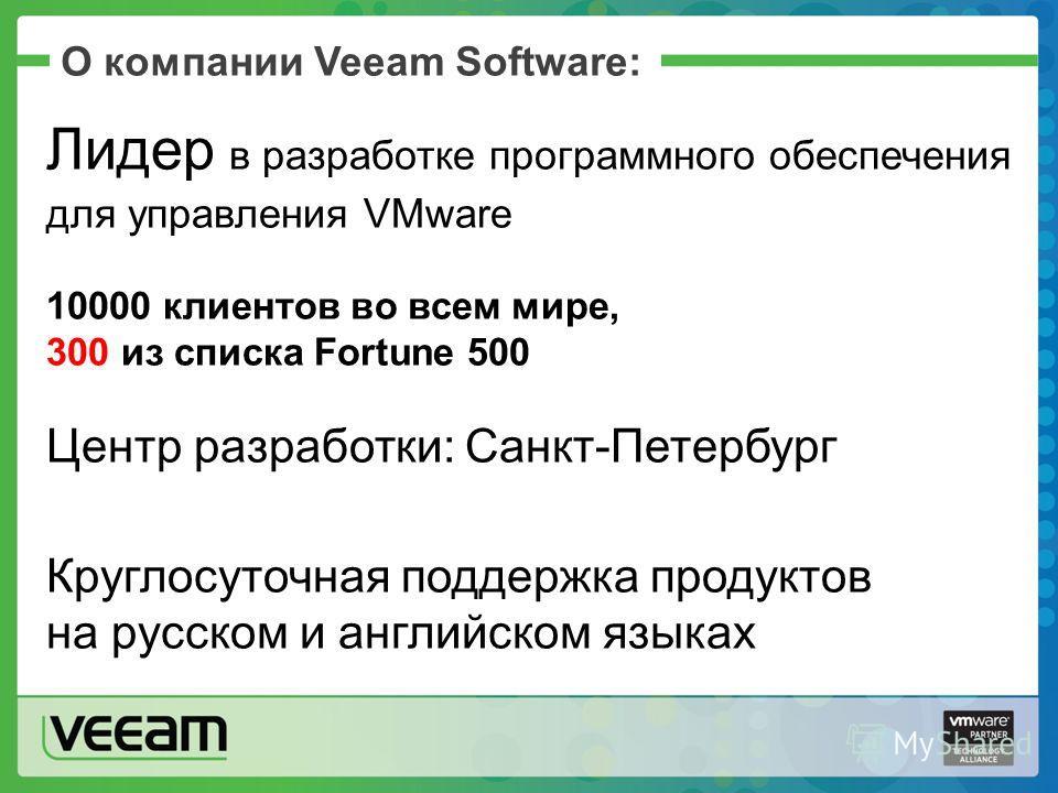 О компании Veeam Software: Лидер в разработке программного обеспечения для управления VMware 10000 клиентов во всем мире, 300 из списка Fortune 500 Центр разработки: Санкт-Петербург Круглосуточная поддержка продуктов на русском и английском языках