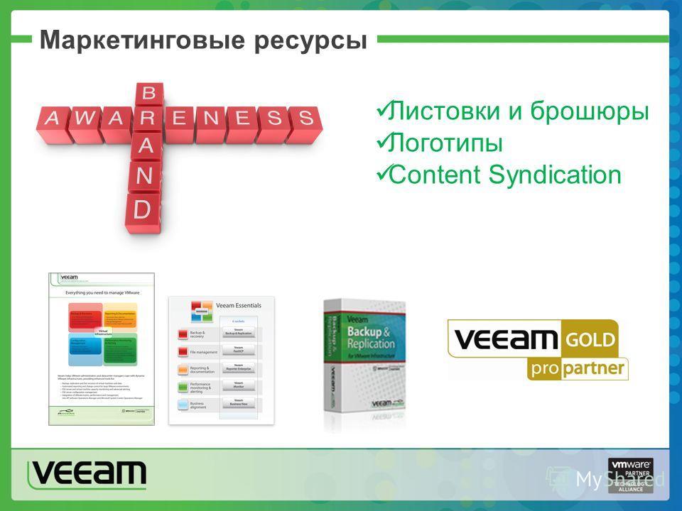 Маркетинговые ресурсы Листовки и брошюры Логотипы Content Syndication