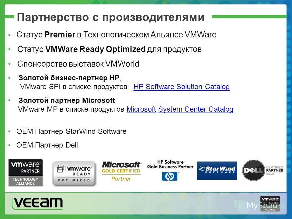 Партнерство с производителями Статус Premier в Технологическом Альянсе VMWare Статус VMWare Ready Optimized для продуктов Спонсорство выставок VMWorld Золотой бизнес-партнер HP, VMware SPI в списке продуктов HP Software Solution CatalogHP Software So