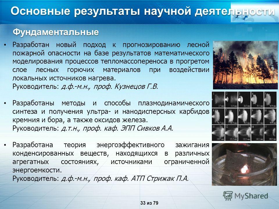 Основные результаты научной деятельности Разработан новый подход к прогнозированию лесной пожарной опасности на базе результатов математического моделирования процессов тепломассопереноса в прогретом слое лесных горючих материалов при воздействии лок