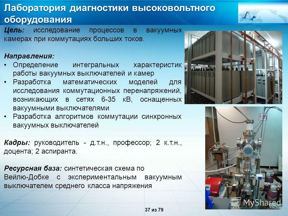 Лаборатория диагностики высоковольтного оборудования Цель: исследование процессов в вакуумных камерах при коммутациях больших токов. Направления: Определение интегральных характеристик работы вакуумных выключателей и камер Разработка математических м