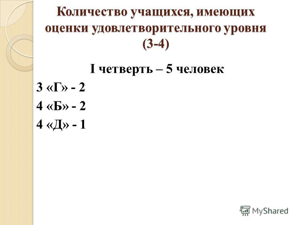 Количество учащихся, имеющих оценки удовлетворительного уровня (3-4) I четверть – 5 человек 3 «Г» - 2 4 «Б» - 2 4 «Д» - 1