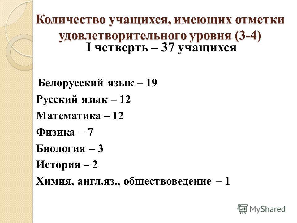 Количество учащихся, имеющих отметки удовлетворительного уровня (3-4) I четверть – 37 учащихся Белорусский язык – 19 Русский язык – 12 Математика – 12 Физика – 7 Биология – 3 История – 2 Химия, англ.яз., обществоведение – 1