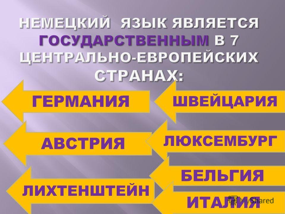 ГЕРМАНИЯ АВСТРИЯ ЛИХТЕНШТЕЙН ШВЕЙЦАРИЯ ЛЮКСЕМБУРГ БЕЛЬГИЯ ИТАЛИЯ