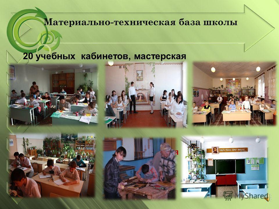 мастерская 20 учебных кабинетов, мастерская Материально-техническая база школы