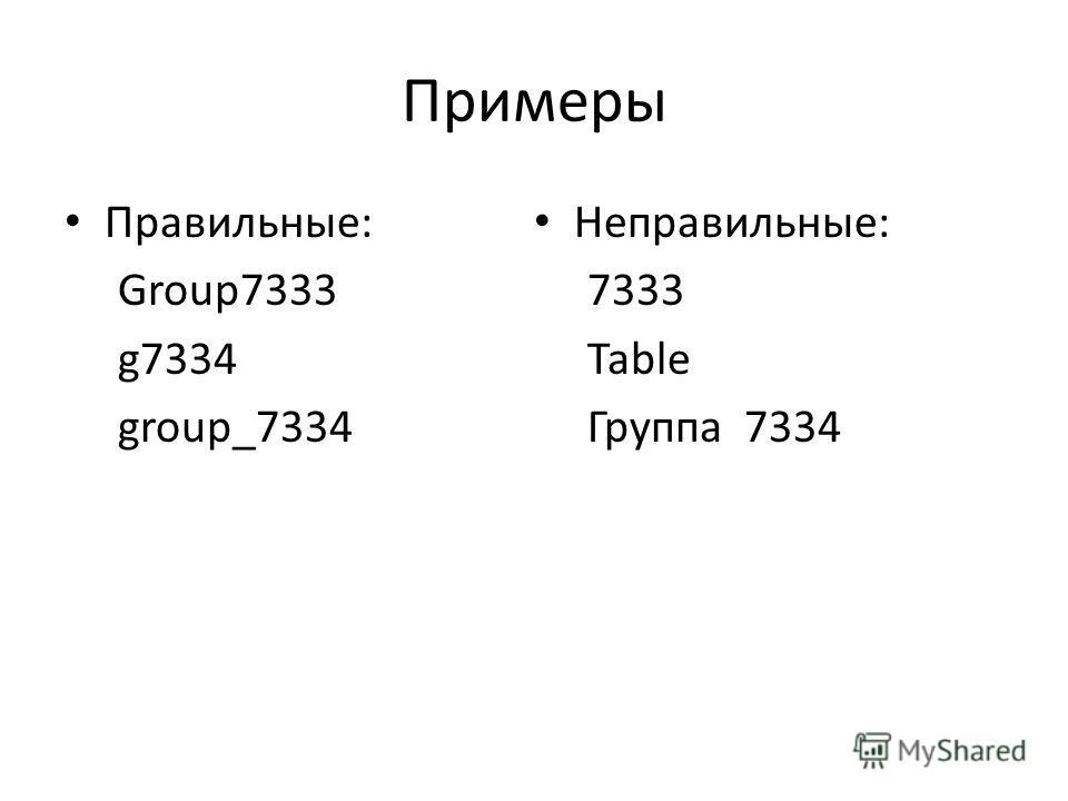 Примеры Правильные: Group7333 g7334 group_7334 Неправильные: 7333 Table Группа 7334