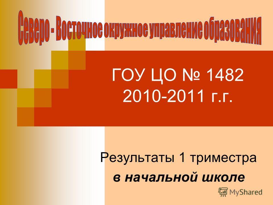 ГОУ ЦО 1482 2010-2011 г.г. Результаты 1 триместра в начальной школе
