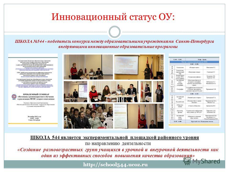 Инновационный статус ОУ: ШКОЛА 544 - победитель конкурса между образовательными учреждениями Санкт-Петербурга внедряющими инновационные образовательные программы ШКОЛА 544 является экспериментальной площадкой районного уровня по направлению деятельно