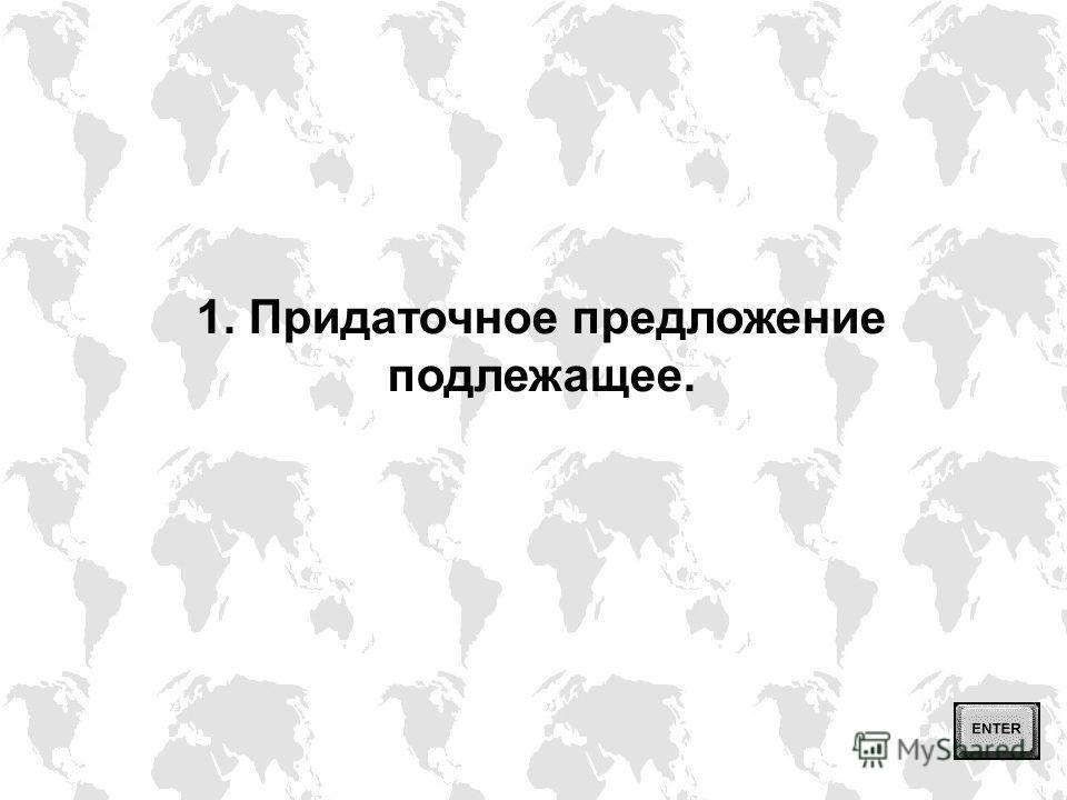 В английском языке (как и в русском) различаются следующие типы придаточных предложений: 1) придаточное предложение подлежащее, 2) придаточное предложение сказуемое, 3) дополнительное придаточное предложение, 4) определительное придаточное предложени
