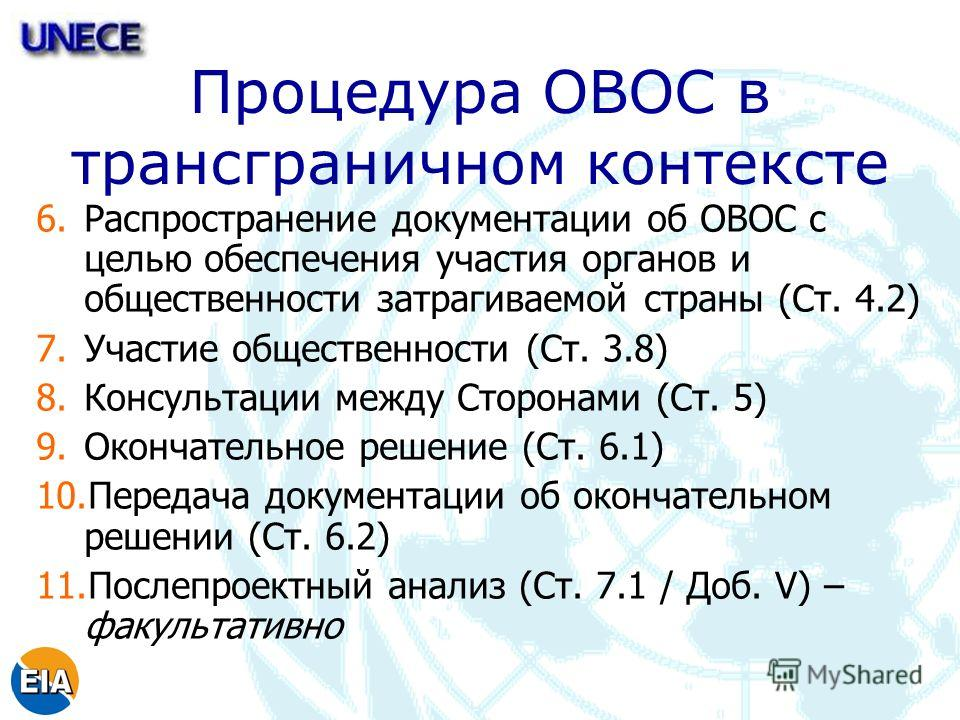 Процедура ОВОС в трансграничном контексте 6.Распространение документации об ОВОС с целью обеспечения участия органов и общественности затрагиваемой страны (Ст. 4.2) 7.Участие общественности (Ст. 3.8) 8.Консультации между Сторонами (Ст. 5) 9.Окончател