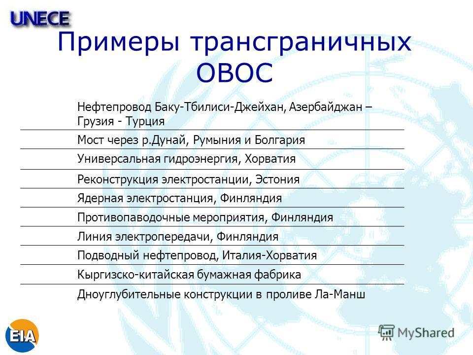 Примеры трансграничных ОВОС Нефтепровод Баку-Тбилиси-Джейхан, Азербайджан – Грузия - Турция Мост через р.Дунай, Румыния и Болгария Универсальная гидроэнергия, Хорватия Реконструкция электростанции, Эстония Ядерная электростанция, Финляндия Противопав