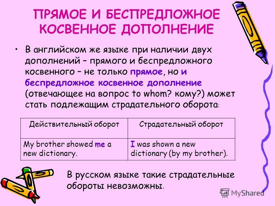 Особенности употребления страдательных оборотов в английском языке В русском языке при превращении действительного оборота в страдательный только прямое дополнение действительного оборота может стать подлежащим параллельного ему страдательного оборот