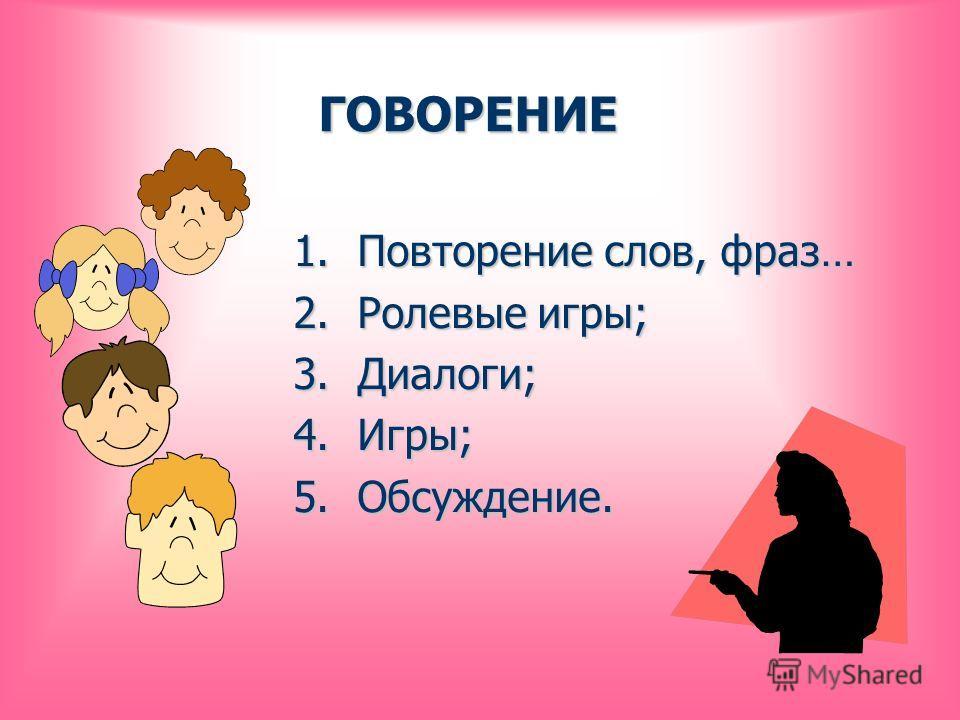 ГОВОРЕНИЕ 1.Повторение слов, фраз… 2.Ролевые игры; 3.Диалоги; 4.Игры; 5.Обсуждение.