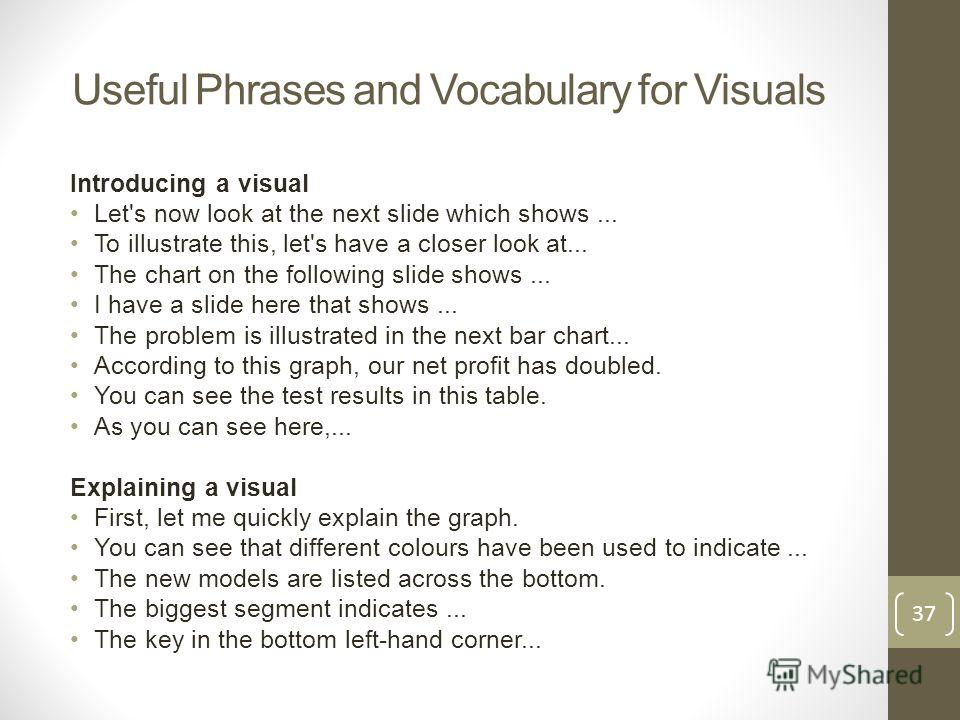 Useful Phrases and Vocabulary for Visuals Introducing a visual Let's now look at the next slide which shows... To illustrate this, let's have a closer look at... The chart on the following slide shows... I have a slide here that shows... The problem