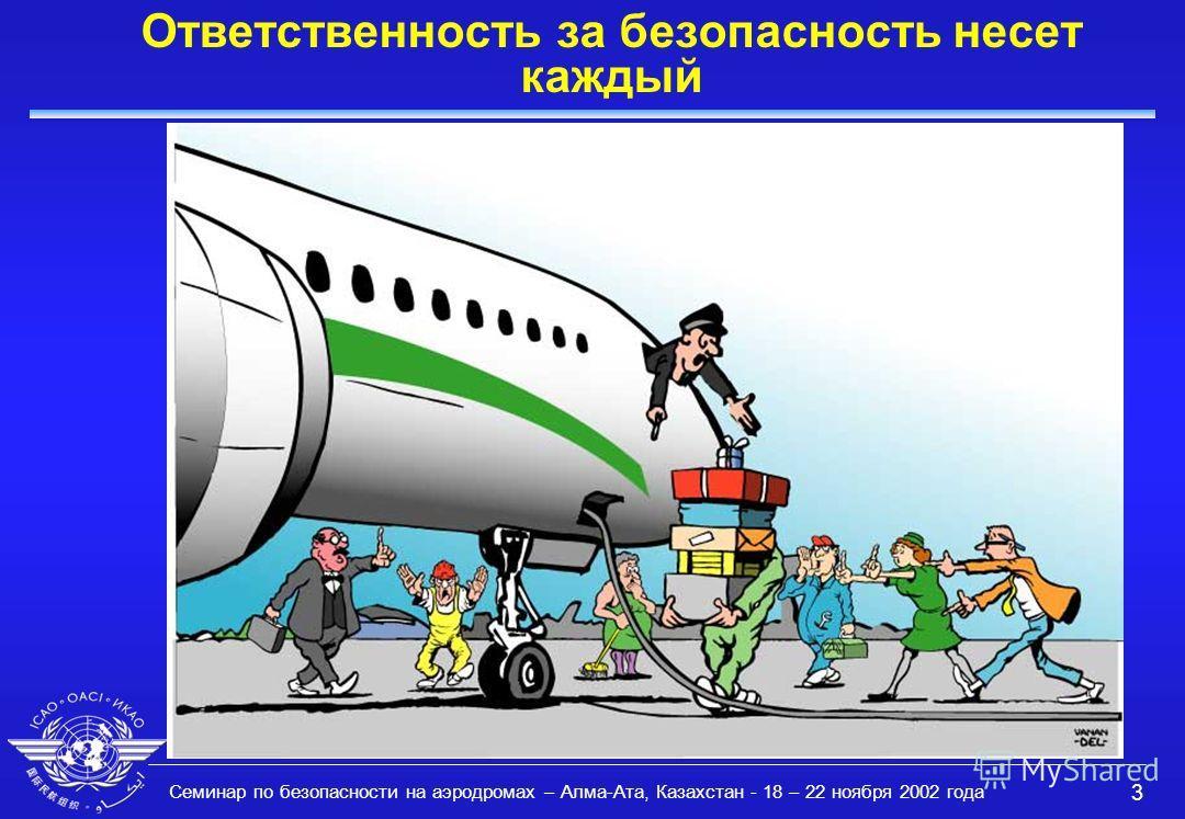 Семинар по безопасности на аэродромах – Алма-Ата, Казахстан - 18 – 22 ноября 2002 года 3 Ответственность за безопасность несет каждый
