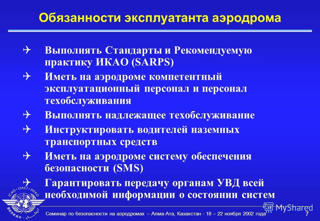 Семинар по безопасности на аэродромах – Алма-Ата, Казахстан - 18 – 22 ноября 2002 года 7 Обязанности эксплуатанта аэродрома QВыполнять Стандарты и Рекомендуемую практику ИКАО (SARPS) QИметь на аэродроме компетентный эксплуатационный персонал и персон