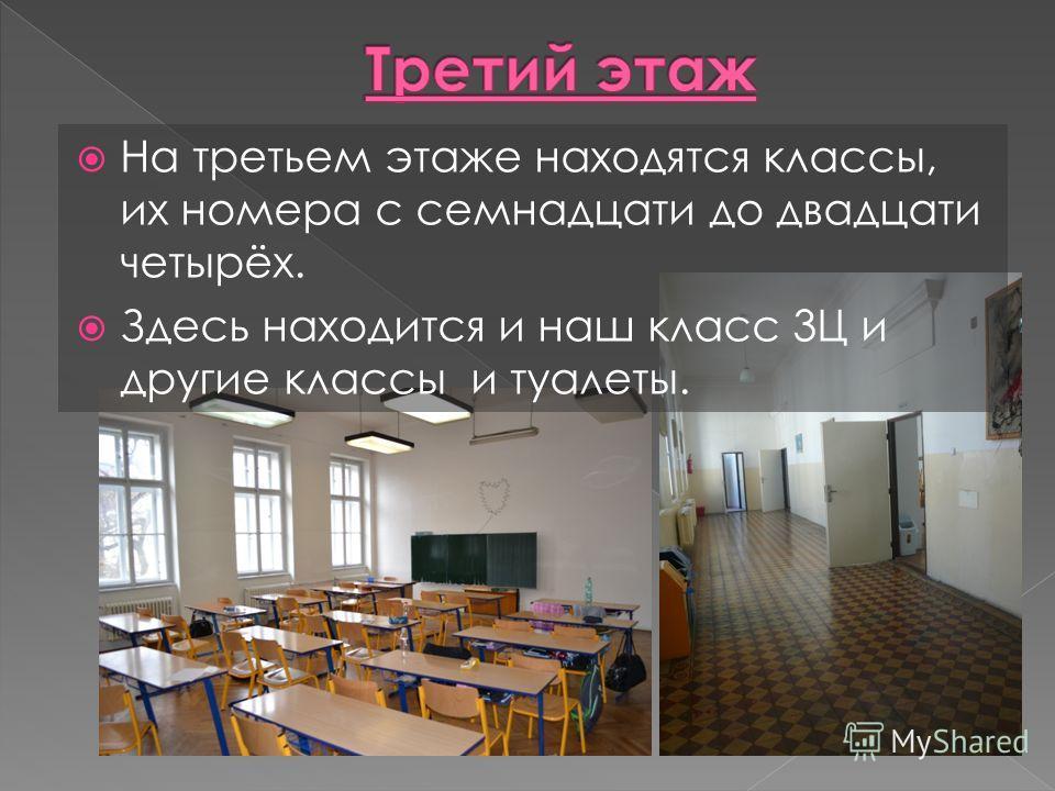 На третьем этаже находятся классы, их номера с семнадцати до двадцати четырёх. Здесь находится и наш класс 3Ц и другие классы и туалеты.