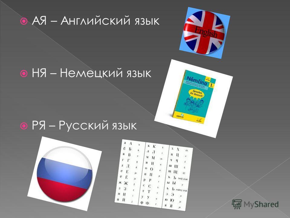 АЯ – Английский язык НЯ – Немецкий язык РЯ – Русский язык