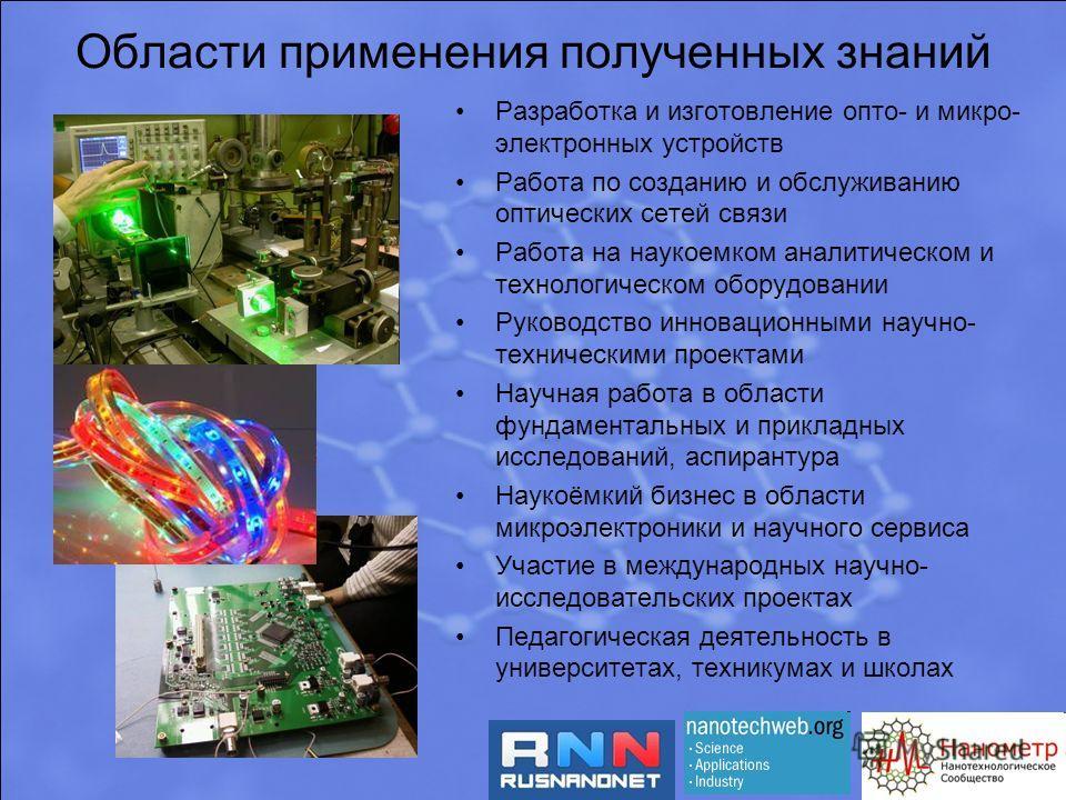 Области применения полученных знаний Разработка и изготовление опто- и микро- электронных устройств Работа по созданию и обслуживанию оптических сетей связи Работа на наукоемком аналитическом и технологическом оборудовании Руководство инновационными