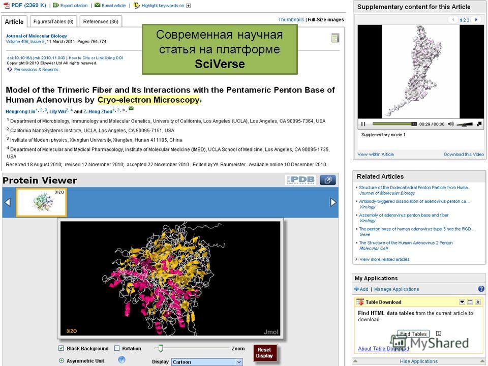 Современная научная статья на платформе SciVerse