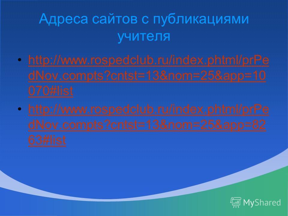 Адреса сайтов с публикациями учителя http://www.rospedclub.ru/index.phtml/prPe dNov.compts?cntst=13&nom=25&app=10 070#listhttp://www.rospedclub.ru/index.phtml/prPe dNov.compts?cntst=13&nom=25&app=10 070#list http://www.rospedclub.ru/index.phtml/prPe