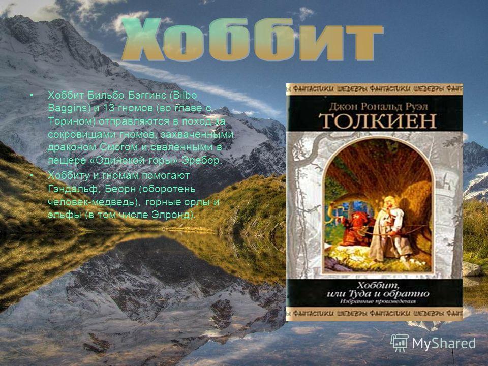 Хоббит Бильбо Бэггинс (Bilbo Baggins) и 13 гномов (во главе с Торином) отправляются в поход за сокровищами гномов, захваченными драконом Смогом и сваленными в пещере «Одинокой горы» Эребор. Xоббиту и гномам помогают Гэндальф, Беорн (оборотень человек