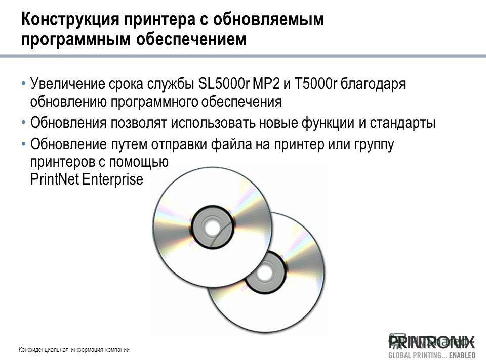 Конфиденциальная информация компании Конструкция принтера с обновляемым программным обеспечением Увеличение срока службы SL5000r MP2 и T5000r благодаря обновлению программного обеспечения Обновления позволят использовать новые функции и стандарты Обн