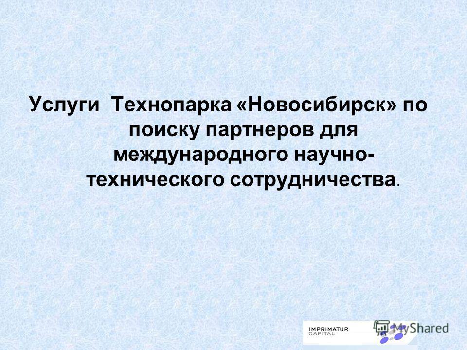 Услуги Технопарка «Новосибирск» по поиску партнеров для международного научно- технического сотрудничества.