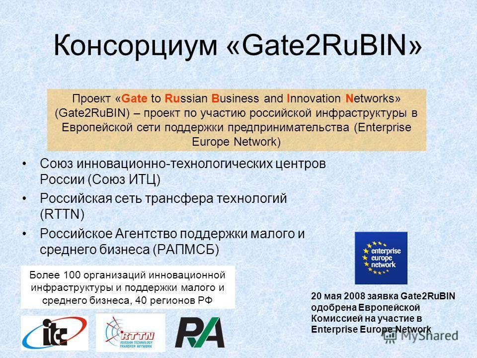 Консорциум «Gate2RuBIN» Союз инновационно-технологических центров России (Союз ИТЦ) Российская сеть трансфера технологий (RTTN) Российское Агентство поддержки малого и среднего бизнеса (РАПМСБ) Более 100 организаций инновационной инфраструктуры и под