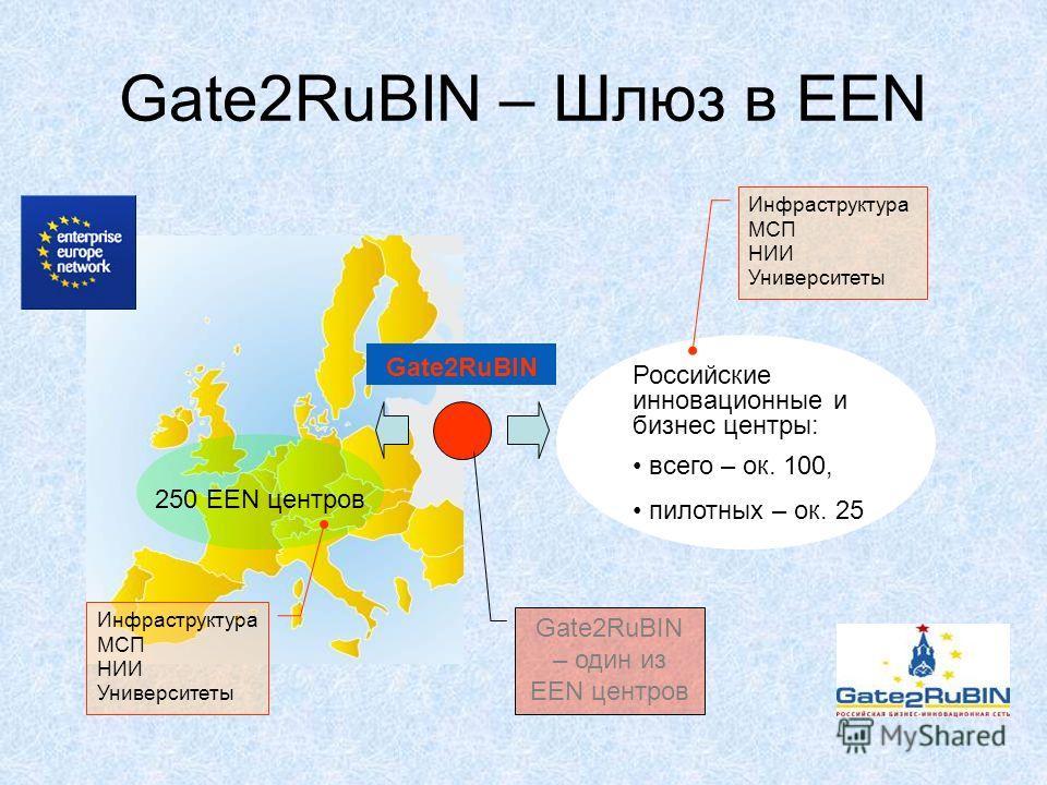 Gate2RuBIN – Шлюз в EEN Российские инновационные и бизнес центры: всего – ок. 100, пилотных – ок. 25 Gate2RuBIN 250 EEN центров Gate2RuBIN – один из EEN центров Инфраструктура МСП НИИ Университеты Инфраструктура МСП НИИ Университеты