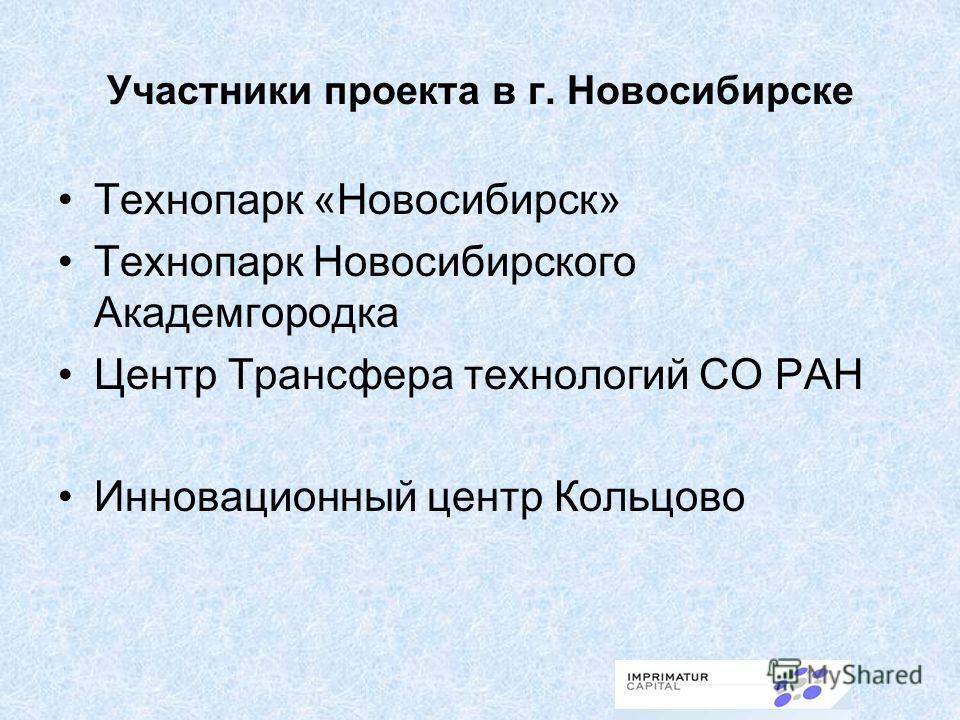 Участники проекта в г. Новосибирске Технопарк «Новосибирск» Технопарк Новосибирского Академгородка Центр Трансфера технологий СО РАН Инновационный центр Кольцово