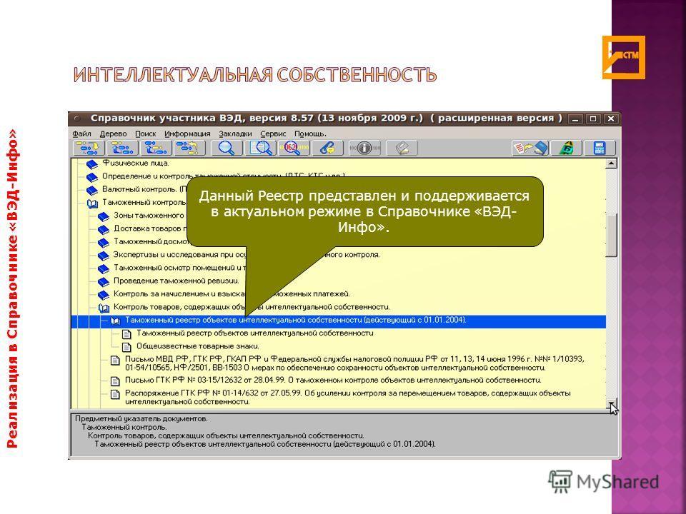 Реализация в Справочнике «ВЭД-Инфо» Данный Реестр представлен и поддерживается в актуальном режиме в Справочнике «ВЭД- Инфо».