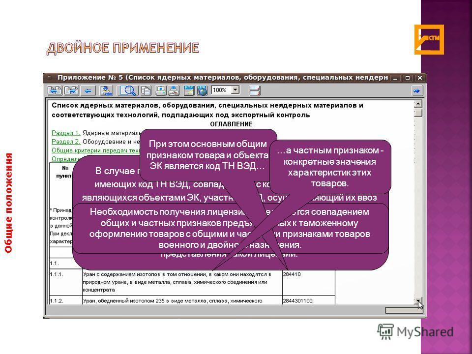 Общие положения В случае предъявления к таможенному оформлению товаров, имеющих код ТН ВЭД, совпадающий с кодом ТН ВЭД товаров, являющихся объектами ЭК, участник ВЭД, осуществляющий их ввоз или вывоз, обязан предоставить таможенному органу, производя