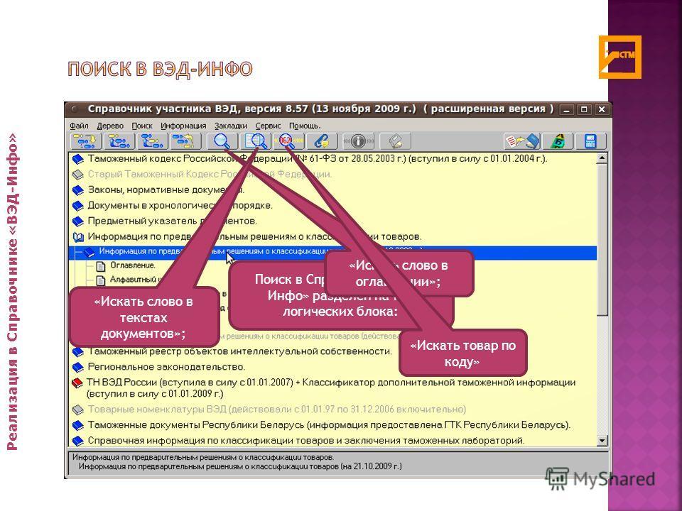 Реализация в Справочнике «ВЭД-Инфо» Поиск в Справочнике «ВЭД- Инфо» разделен на три логических блока: «Искать слово в оглавлении»; «Искать слово в текстах документов»; «Искать товар по коду»