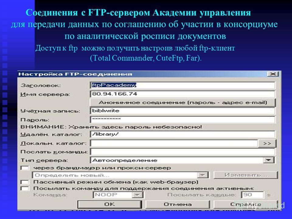 Соединения с FTP-сервером Академии управления для передачи данных по соглашению об участии в консорциуме по аналитической росписи документов Доступ к ftp можно получить настроив любой ftp-клиент (Total Commander, CuteFtp, Far).