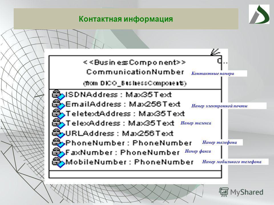 Контактная информация Контактные номера Номер телефона Номер факса Номер мобильного телефона Номер телекса Номер электронной почты