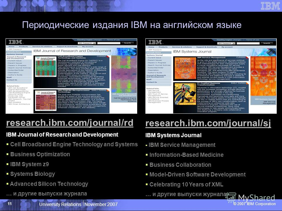 University Relations November 2007 © 2007 IBM Corporation 11 Периодические издания IBM на английском языке research.ibm.com/journal/rd IBM Journal of Research and Development Cell Broadband Engine Technology and Systems Business Optimization IBM Syst
