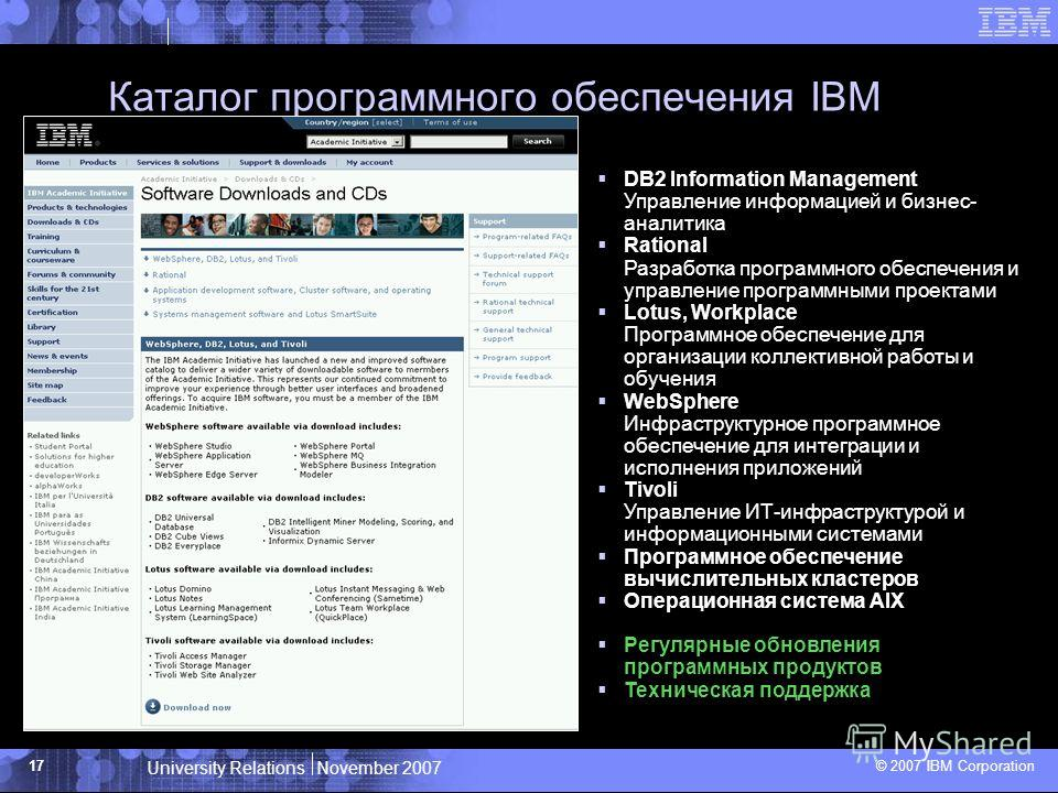 University Relations November 2007 © 2007 IBM Corporation 17 Каталог программного обеспечения IBM DB2 Information Management Управление информацией и бизнес- аналитика Rational Разработка программного обеспечения и управление программными проектами L