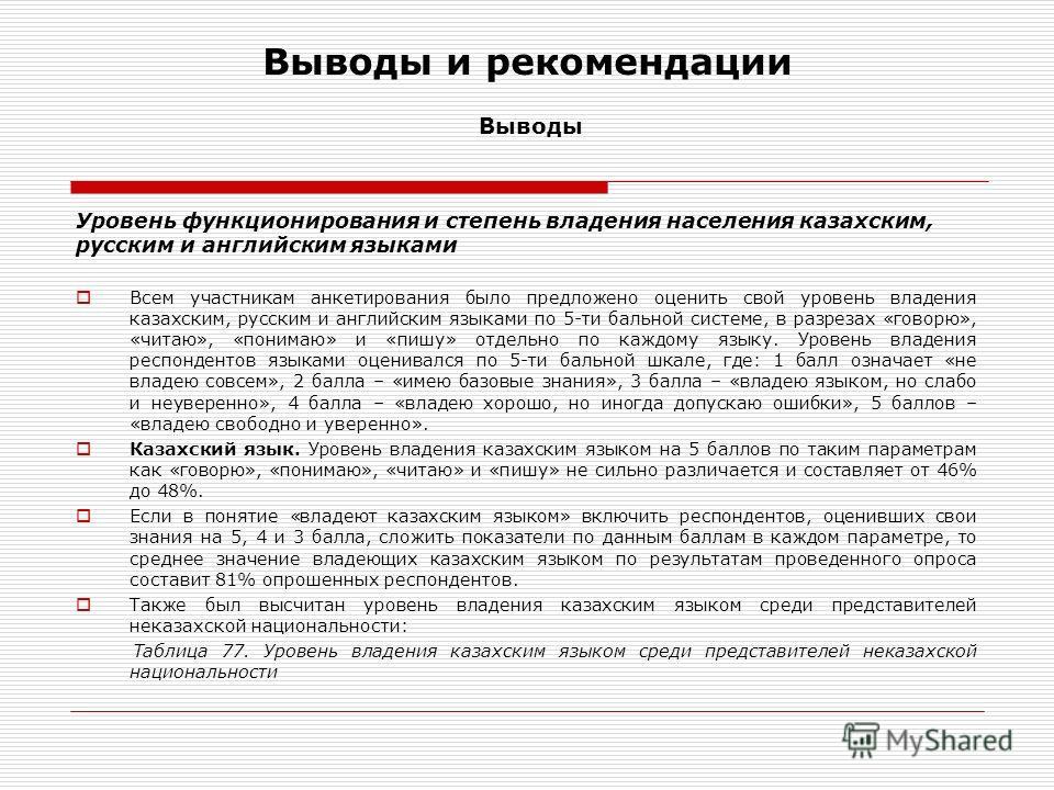 Выводы и рекомендации Выводы Уровень функционирования и степень владения населения казахским, русским и английским языками Всем участникам анкетирования было предложено оценить свой уровень владения казахским, русским и английским языками по 5-ти бал